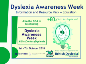 Dyslexic Awareness Week, 2018, Monsarratt Teaching Services, Great Ayton, North Yorkshire